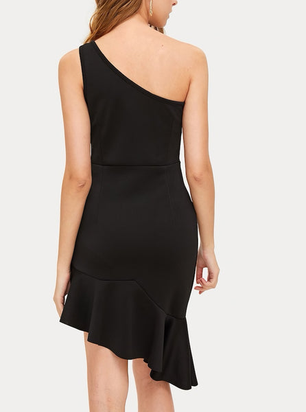 One Shoulder Asymmetrical Ruffle Hem Dress