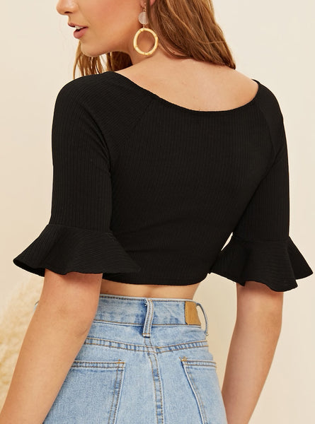Button Front Flounce Cuff Crop Top