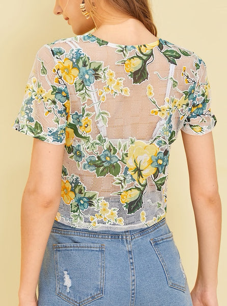 Floral Embroidery Sheer Mesh Crop Top