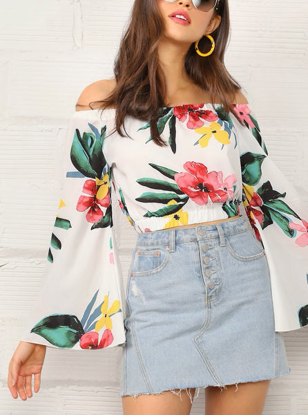 Tropical Print Off Shoulder Bell Sleeve Top