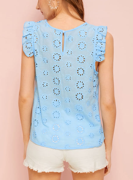 Sleeveless Top With Cutouts And Ruffles