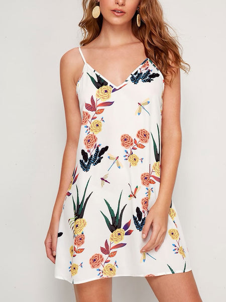 V-Neck Floral Print Slip Dress