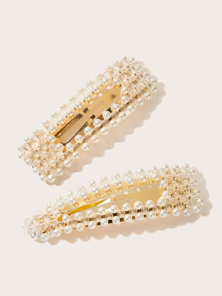 Faux Pearl Snap Hair Clips