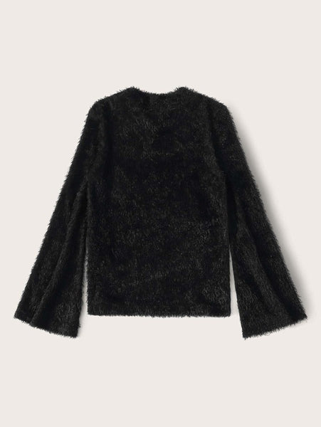 Solid Bell Sleeve Fuzzy Jumper