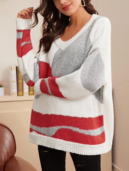 Drop Shoulder Colorblock Oversized Jumper