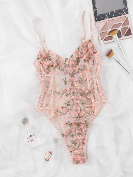 [PRE-ORDER] Floral Mesh Lace-up Teddy Bodysuit