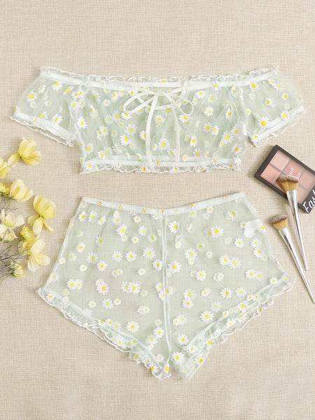 [PRE-ORDER] Daisy Mesh Top And Shorts Set