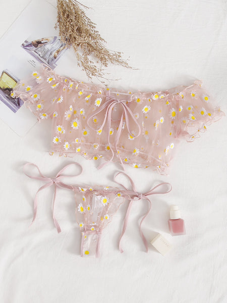 [PRE-ORDER] Daisy Mesh Top And G-string Set