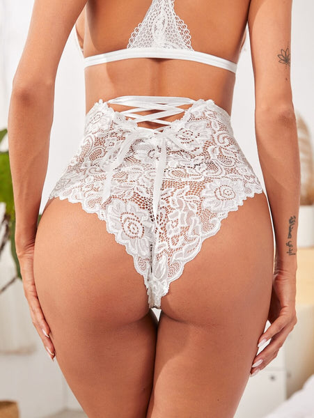 Lace Up Back High Waisted Panty