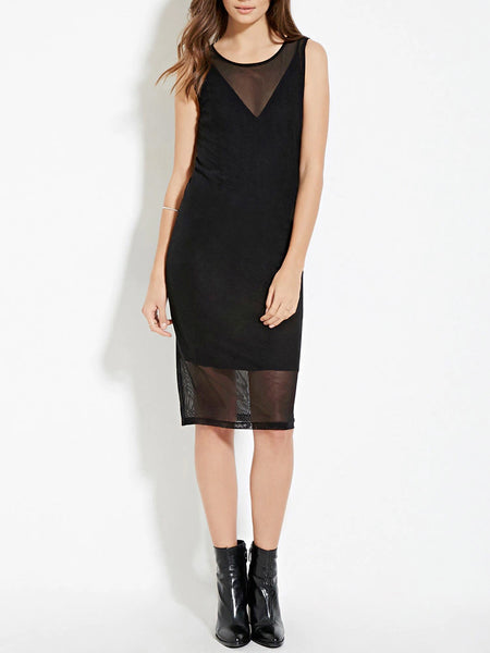 Layered Mesh Panel Dress