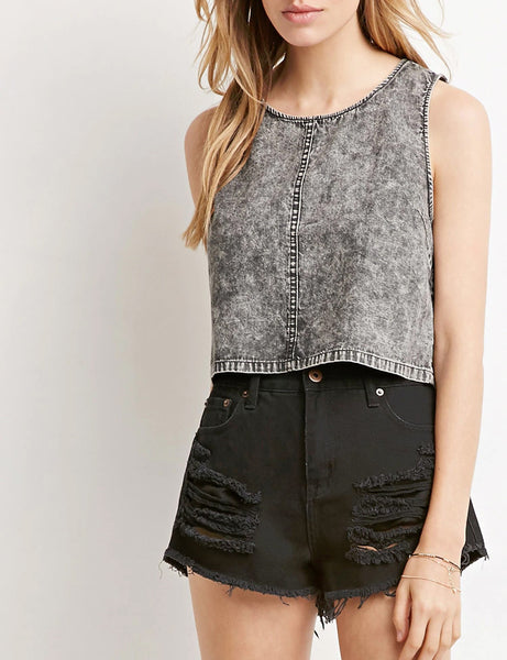 Dark Denim Crop Top