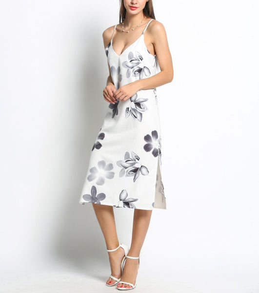 Floral Midi Dress With Slits