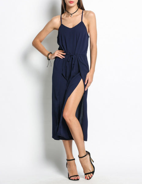 Wide Leg Jumpsuit With Slits