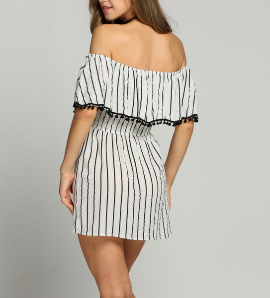 Striped Off Shoulder Mini Dress