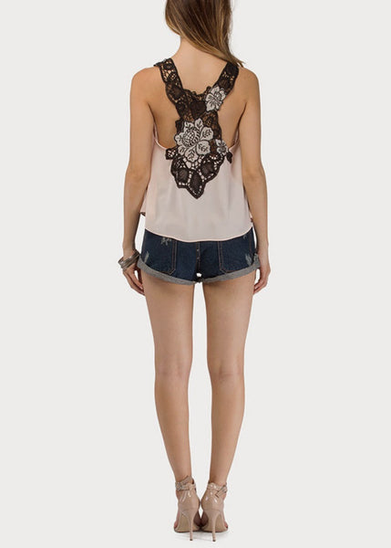 Floral Embroidery Racerback Top