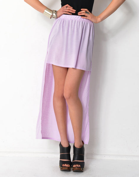 Uneven Hem Side Split Skirt