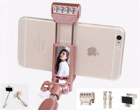 Bluetooth Selfie Stick With Light & Mirror For Android & IPhone