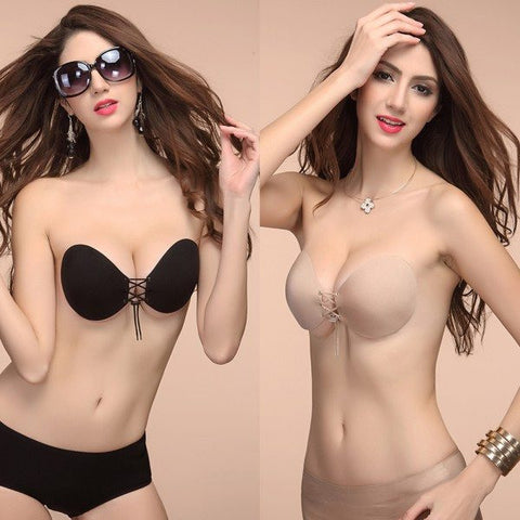 Invisible Push Up Stick On Self Adhesive Front Lacing Bras