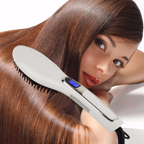 LCD Ceramic Hair Straightener Brush