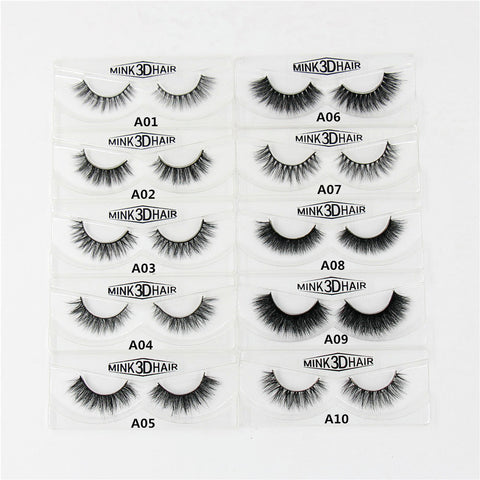 1 Pair 3D Mink Eyelashes Long Cross Thick Handmade