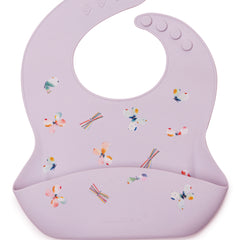 Silicone feeding bib in purple butterfly.