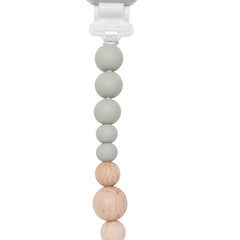 Colour Pop Silicone and Wood Pacifier Clip in Cool Gray by Loulou Lollipop