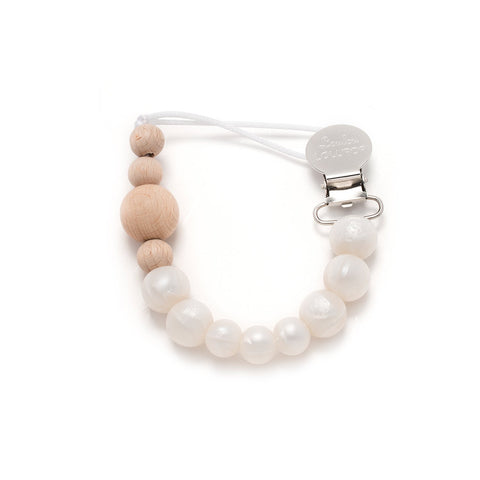 Colour Block Silicone & Wood Pacifier Clip - Pearl