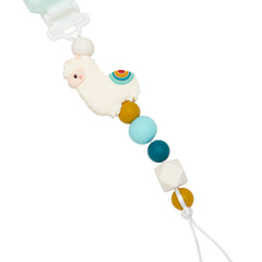 Silicone metal-free baby pacifier clip microwave safe in Llama.