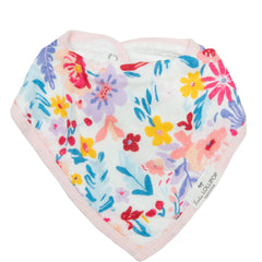 Baby bandana bibs in light field flowers.
