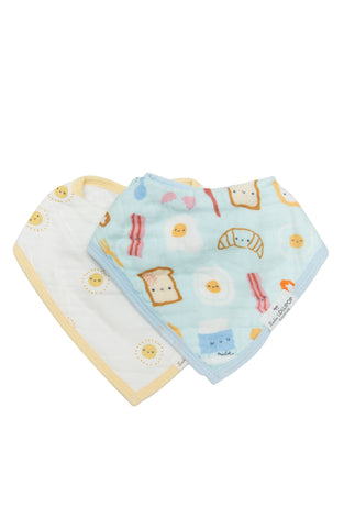 Cutie breakfast bacon eggs toast print muslin bandana bibs