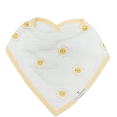 Rise and Shine smiley sun print bandana bib