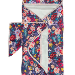 dark floral baby hooded towel set bamboo terry soft.
