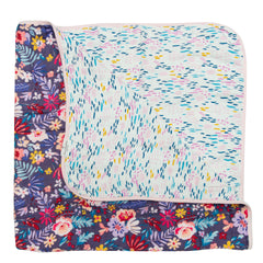 Baby girl dark floral printed 4 layer muslin blanket.