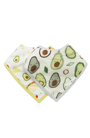 Avocado and Tacos printed bandana bib set for baby.