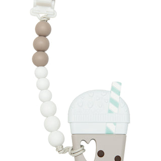 Bubble Tea Silicone Teether with Gem holder by loulou lollipop