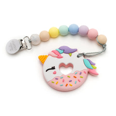 Pink Unicorn Donut Silicone Teether Holder Set - Cotton Candy