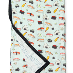 Loulou lollipop baby muslin blankets sushi printed by laura uy bamboo cotton blanket