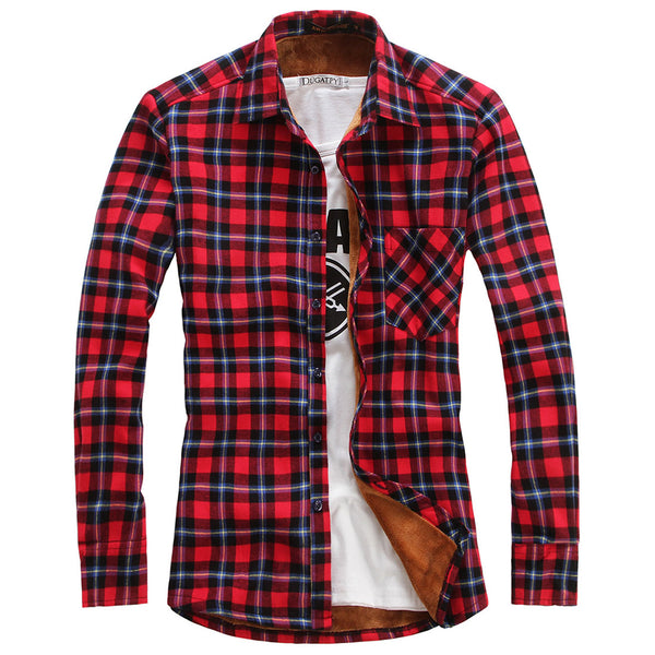 Chouyatou Men's Casual Long Sleeve Fleece Lined Plaid Flannel Buttoned Overshirts Jacket