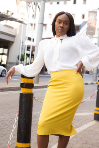 Pencil skirt with back slit