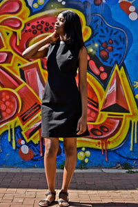 Tube dress with faux leather detail