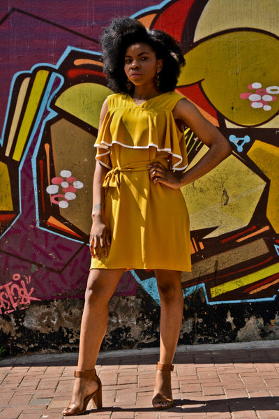 Dress with belt tie and piping detail | online fashion store gauteng