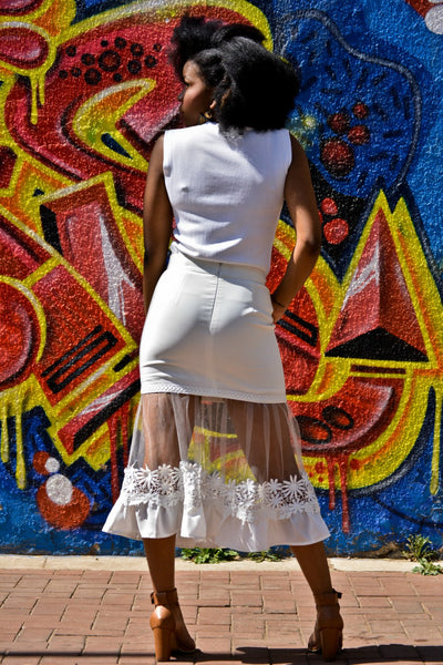 Flared A-line skirt with mesh and lace flower detail
