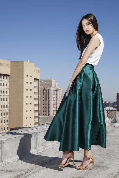 Green maxi satin ball skirt with front bow