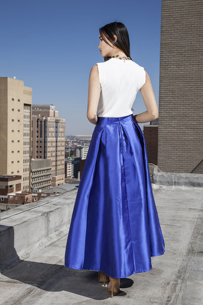 Blue maxi satin ball skirt with front bow