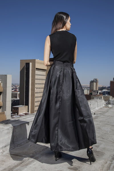 Black maxi satin ball skirt with front bow