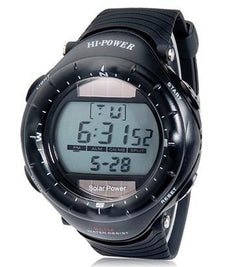 0405 Round Dial Digital Waterproof Diving Solar Sports Watch with Solar Movement, Plastic Case, Rubber  Backlight (Black)