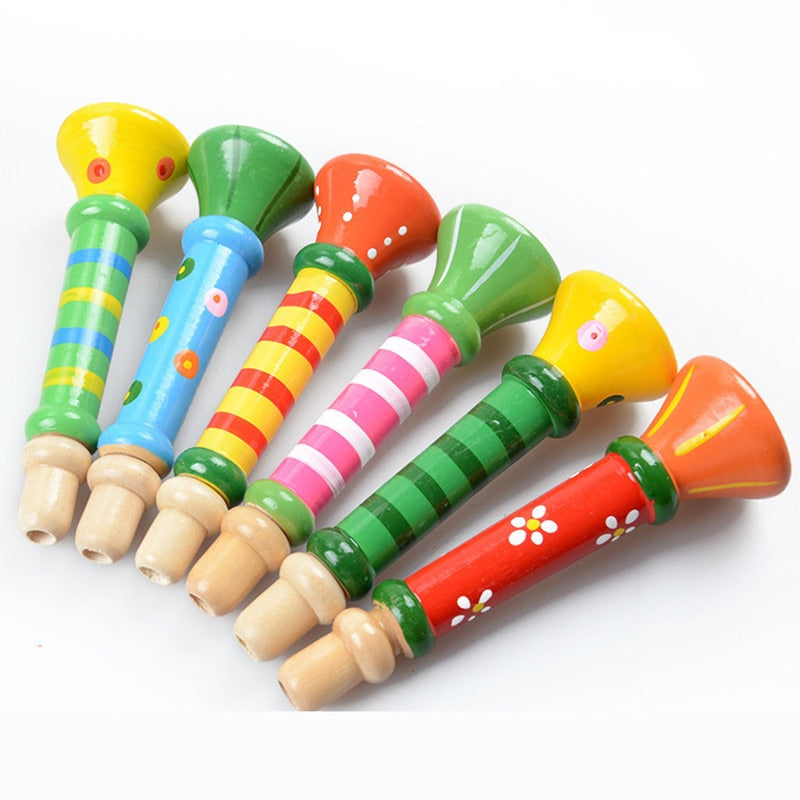 Costbuys  1 Pcs Random Color Colorful Wooden Toys Baby Kids Musical Instrument Trumpet Educational Toys For Children