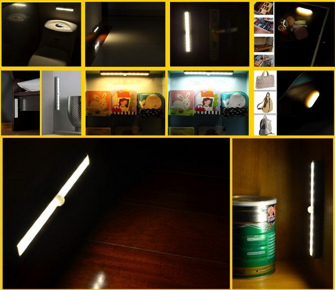 Costbuys  1 Pcs Smart Sensor LED Night Wall Light wireless Cabinet Light Lamp Magnetic Strip Indoor LED Sensor Wall Lamp Battery