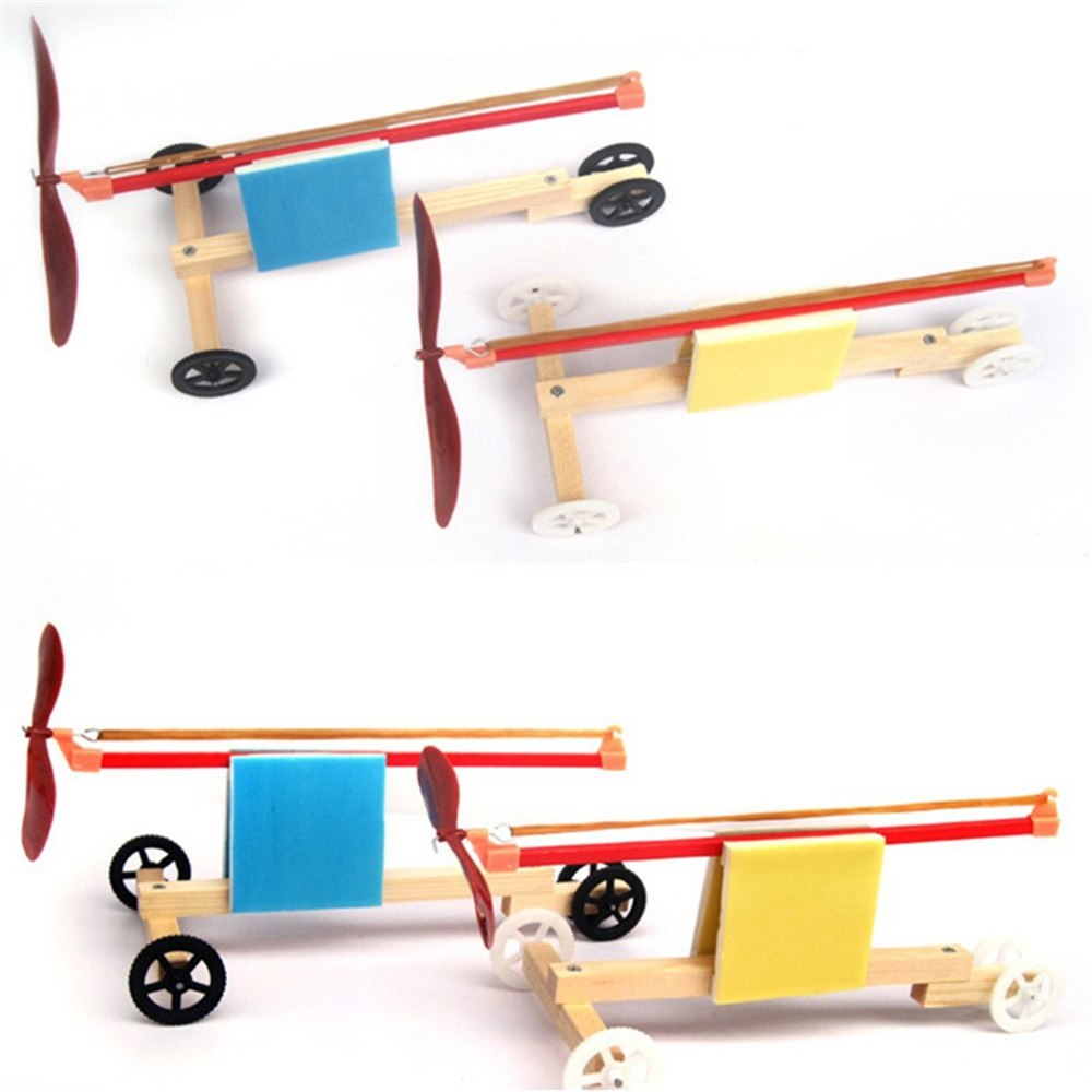 Costbuys  1 Set Children DIY Wooden Plastic Dynamic Rubber Band Powered Cars Kids Educational Assembled Jigsaw Puzzle Material T