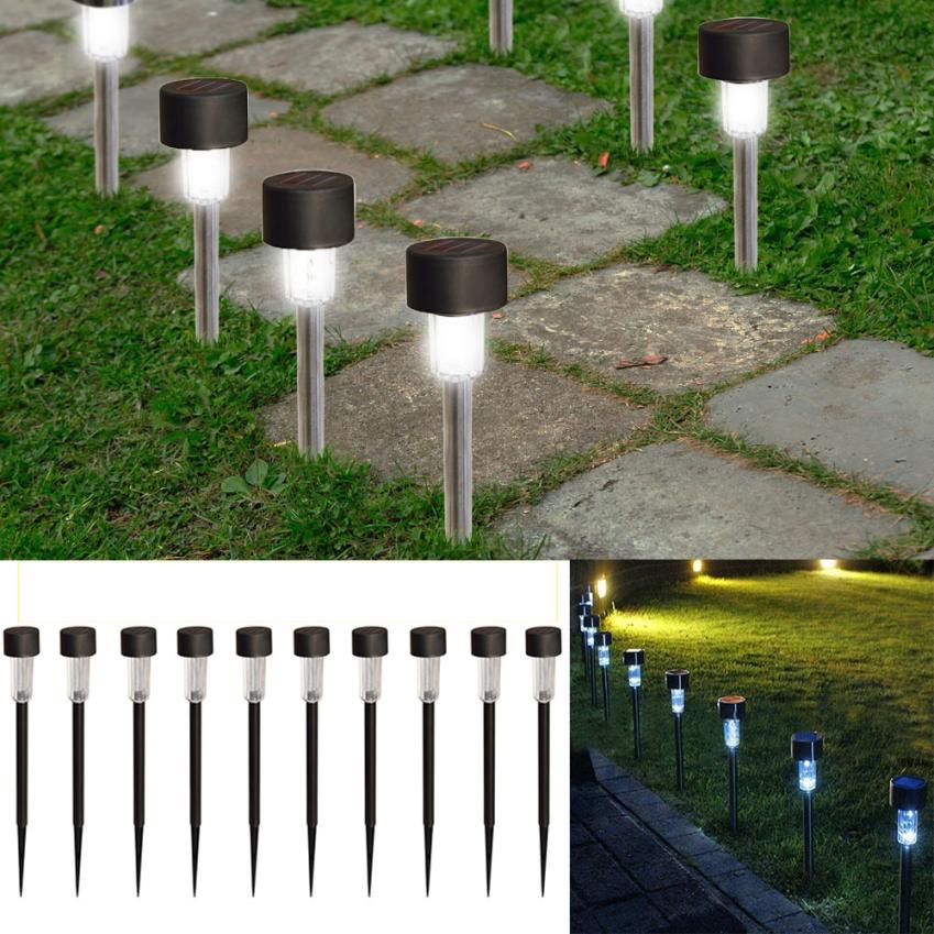 10 Pack Home Garden Solar Lamps Lawn Lights Outdoor Stainless Steel Led  Solar Power Light Lawn Garden Landscape Path Yard Lamp